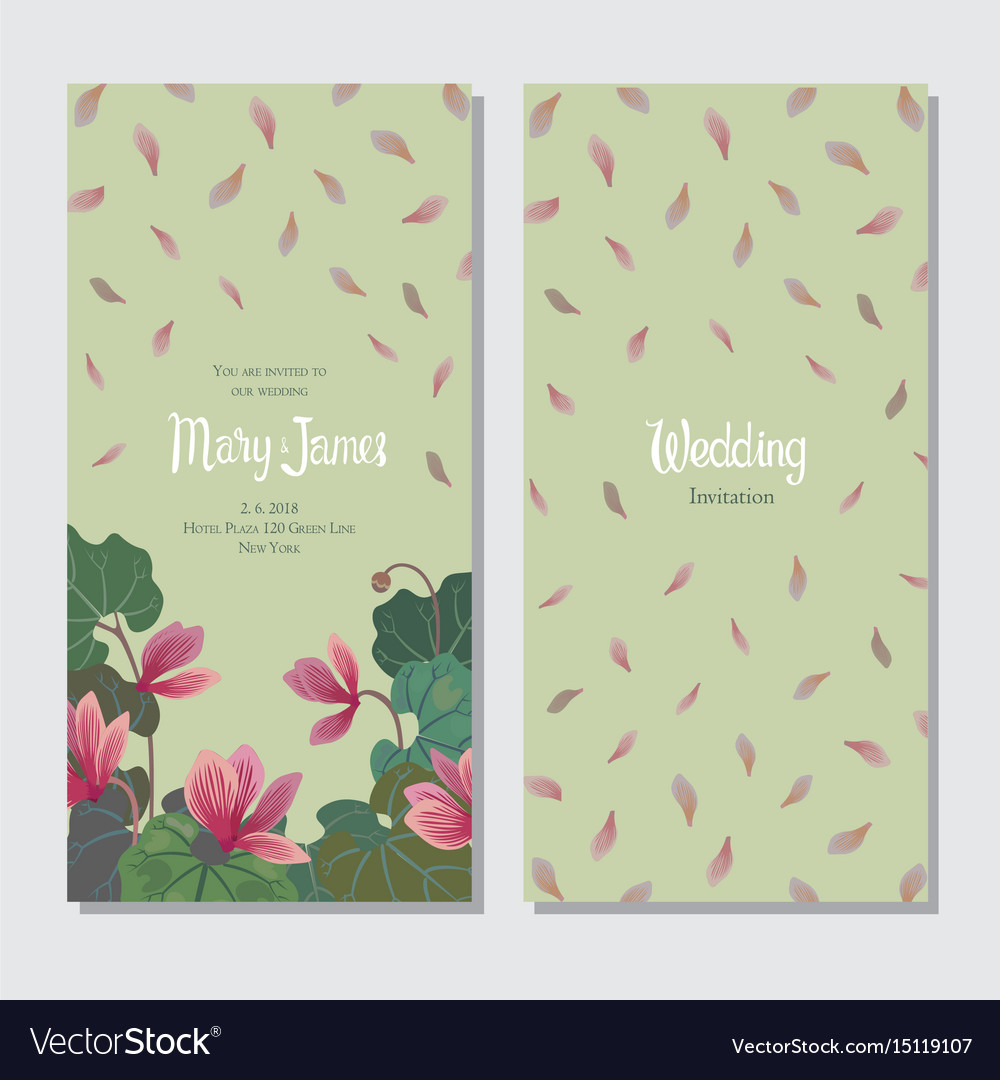 Template for wedding or greeting card with cyclame