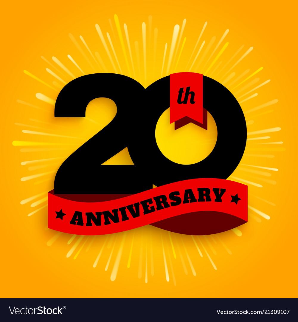 Twenty years anniversary logo with red ribbon