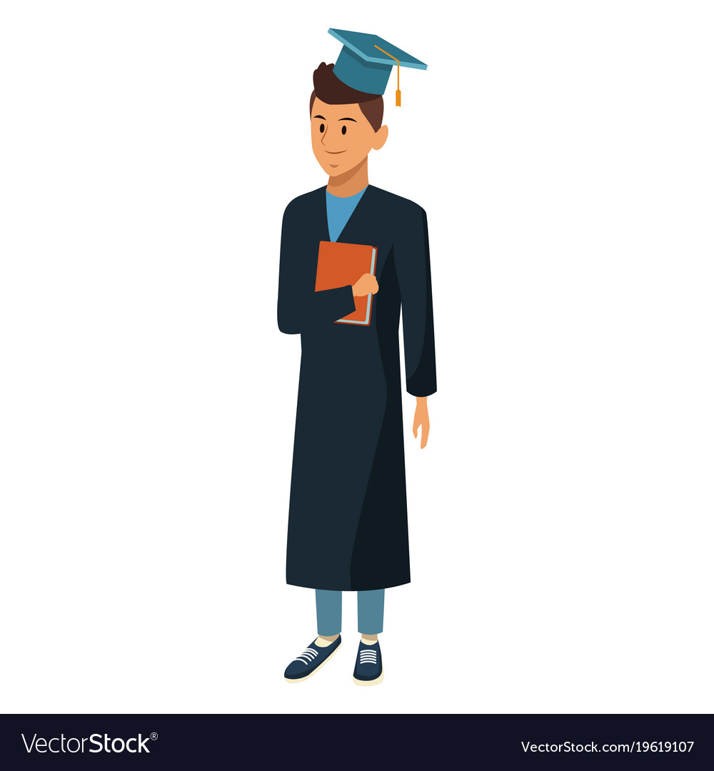 Young man student with graduation gown Royalty Free Vector
