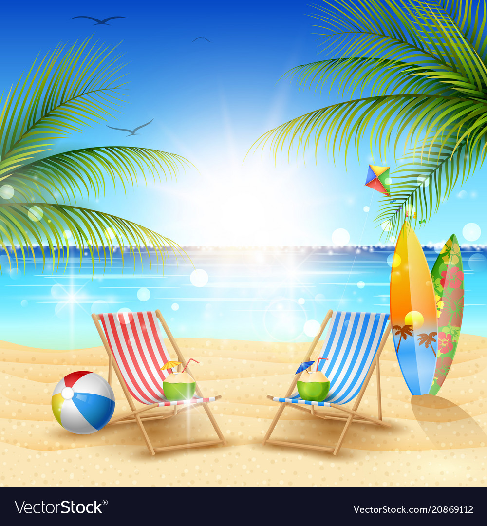 Beautiful summer beach background Royalty Free Vector Image