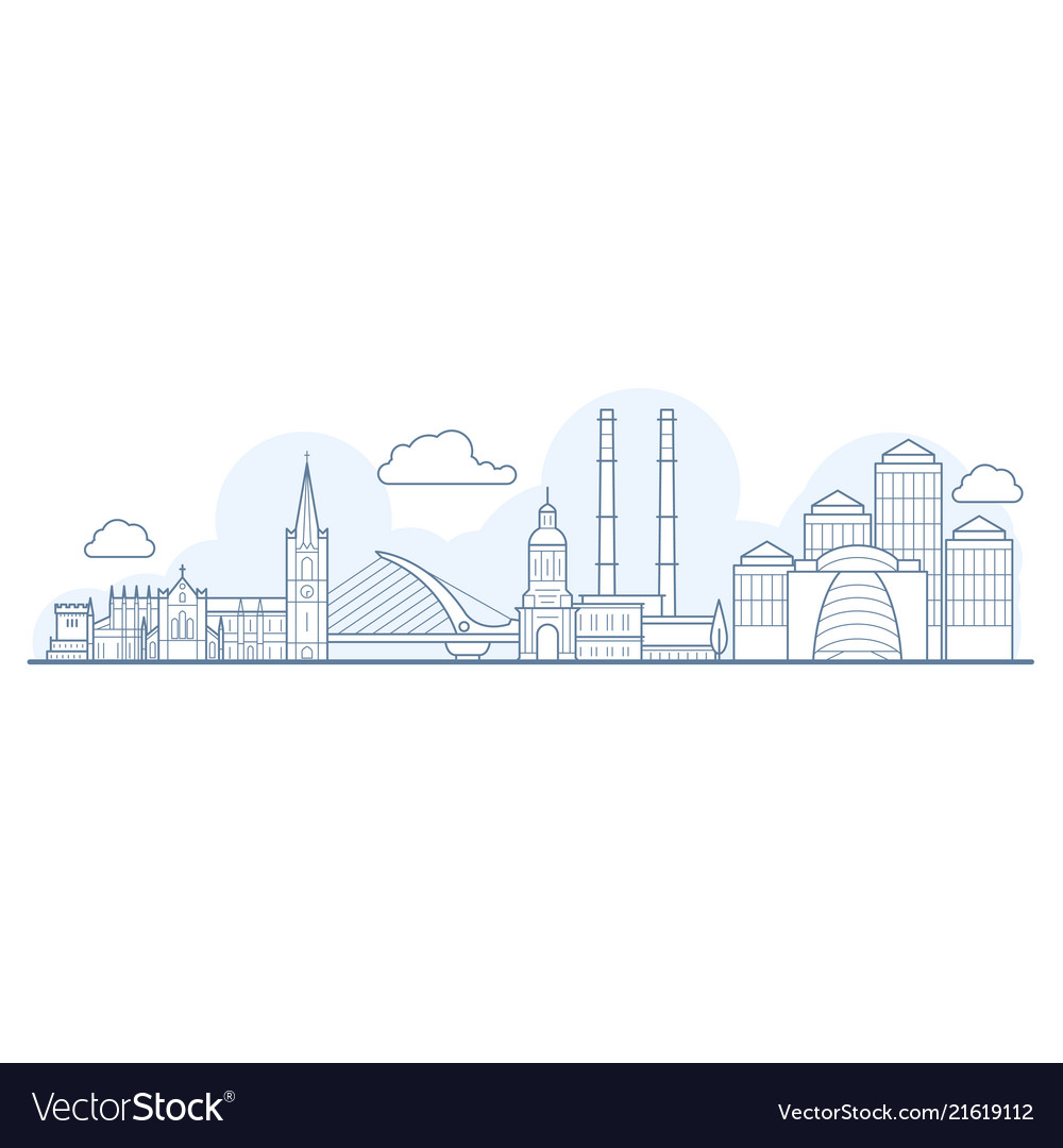 Dublin city skyline - cityscape with landmarks in