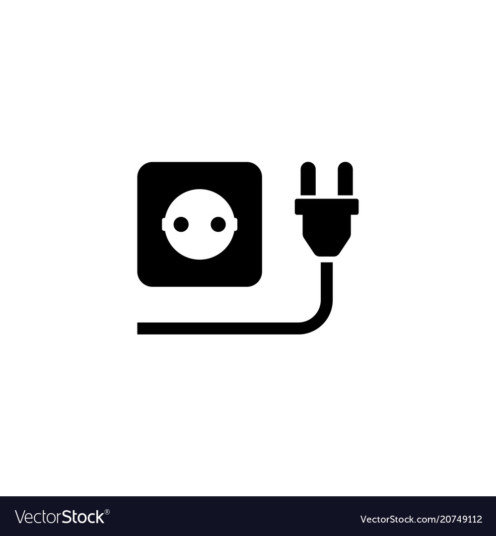 Electric plug with power outlet flat icon vector image