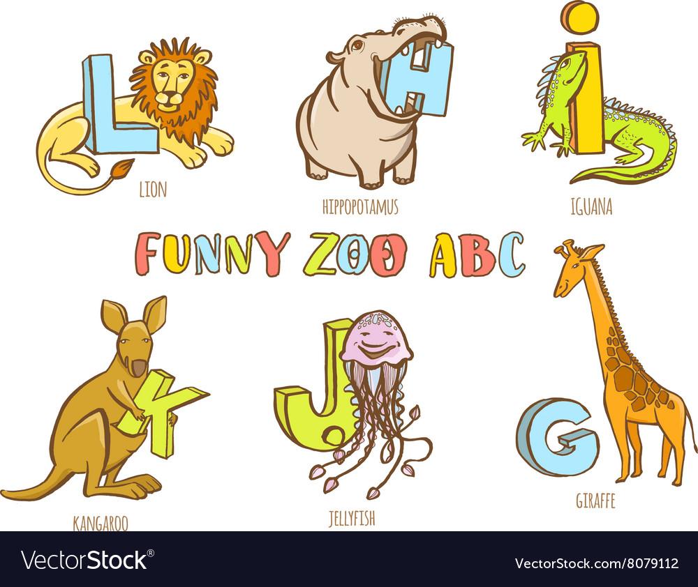 Funny zoo animals kids alphabet Hand drawn ink