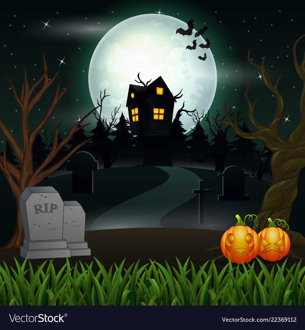 Halloween background with scary house in the full