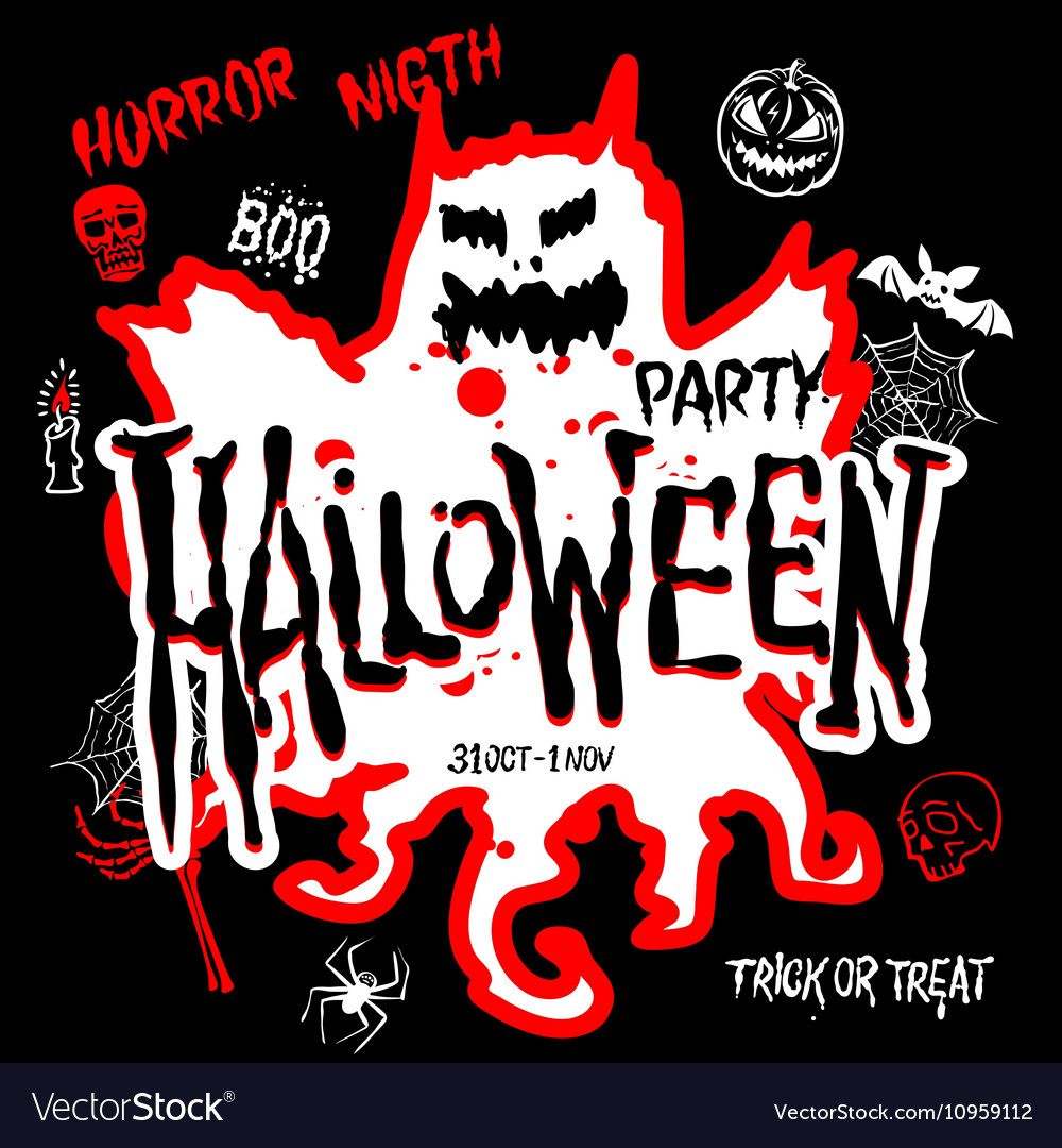 Halloween Party Design template with pumpkin and
