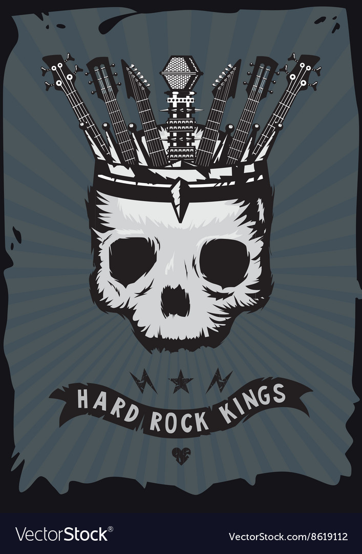 Hard rock king Grunge music poster Skull with a