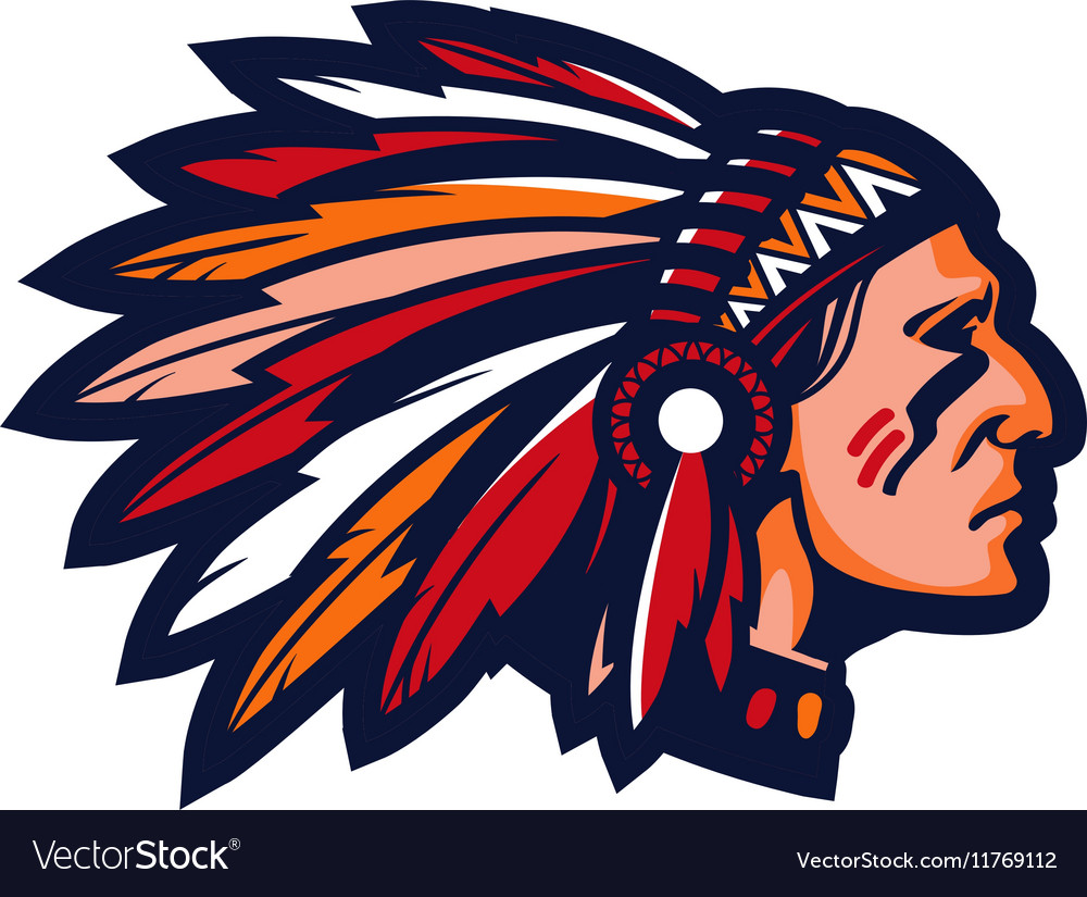 indian chief logo or icon mascot royalty free vector image rh vectorstock com Cherokee Indian Chief Logo Indian Chief Skull Logo