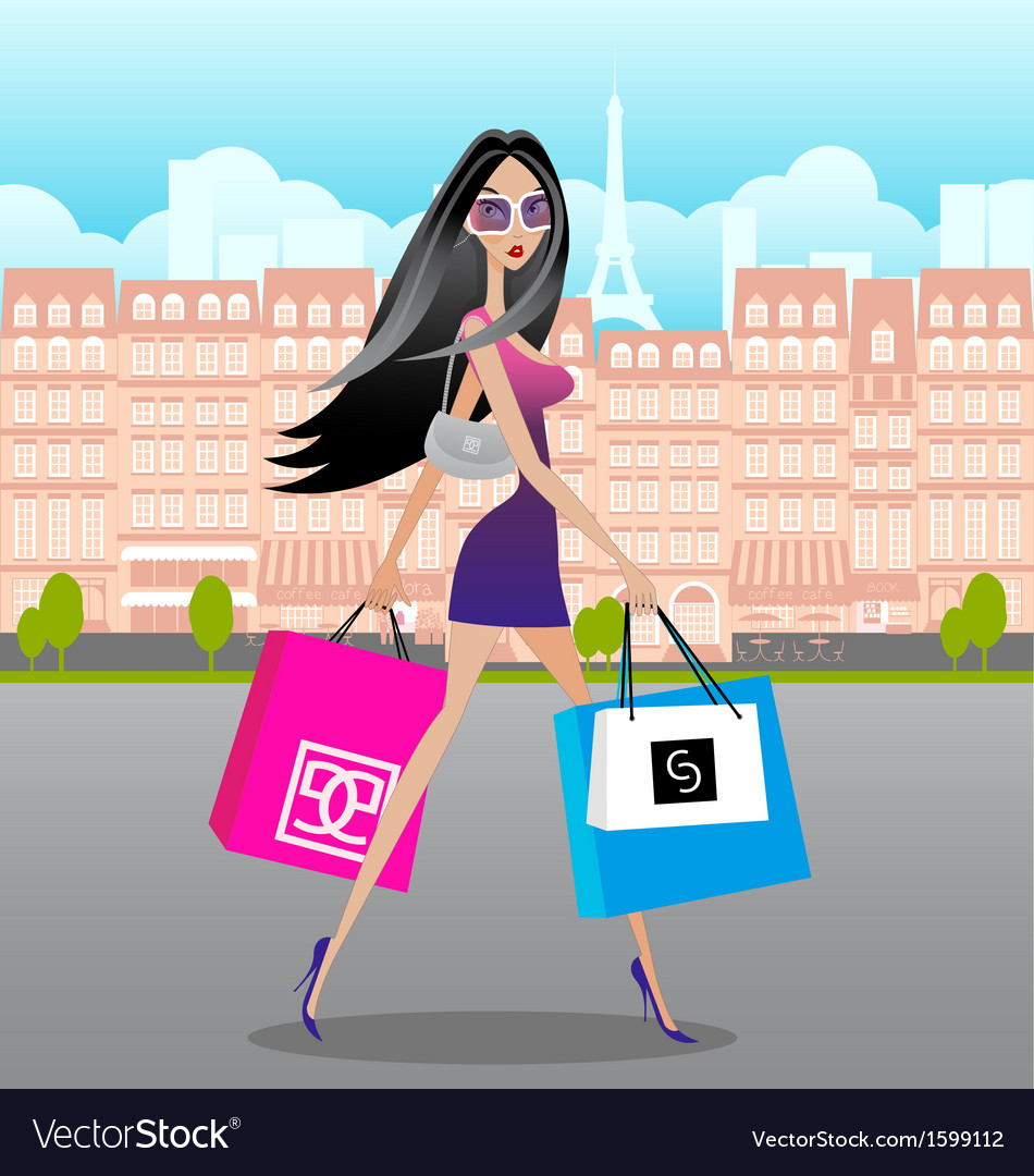 Lady-Shopping-in-Paris vector image