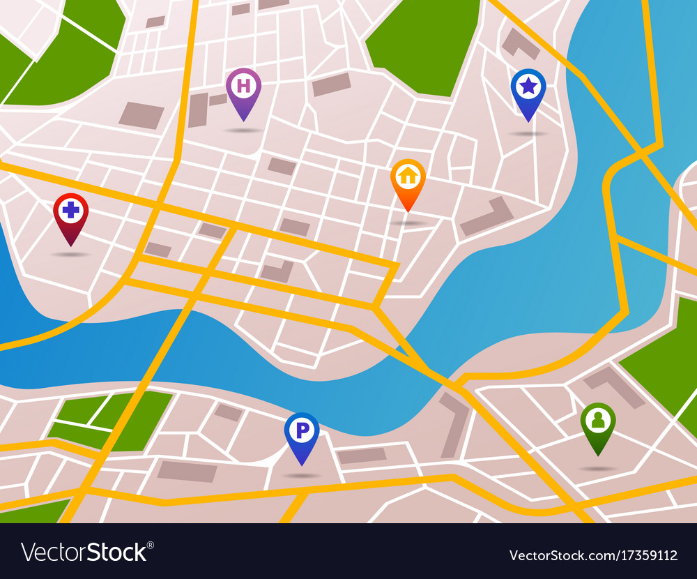 Navigation Maps With Gps Pins Icons Royalty Free Vector