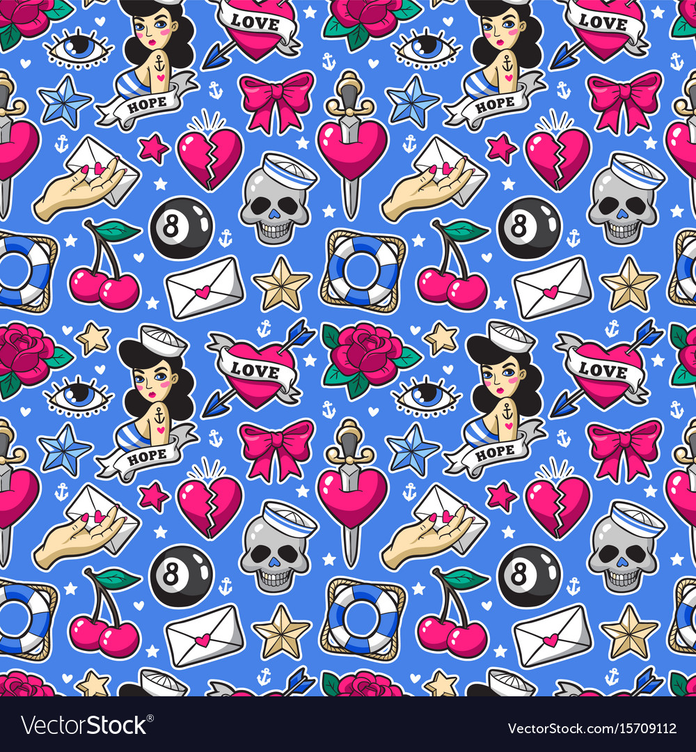 Old school seamless pattern in rockabilly style vector image