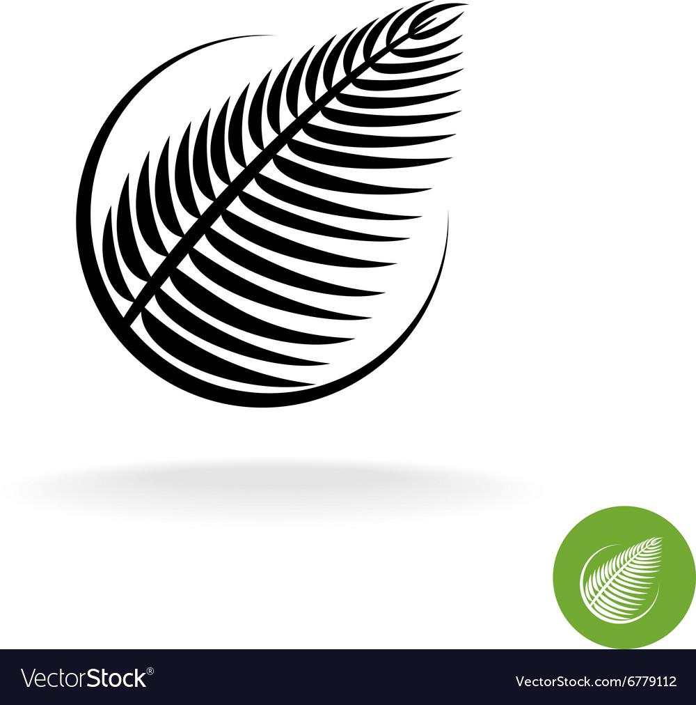 Palm leaf black silhouette logo icon in a round
