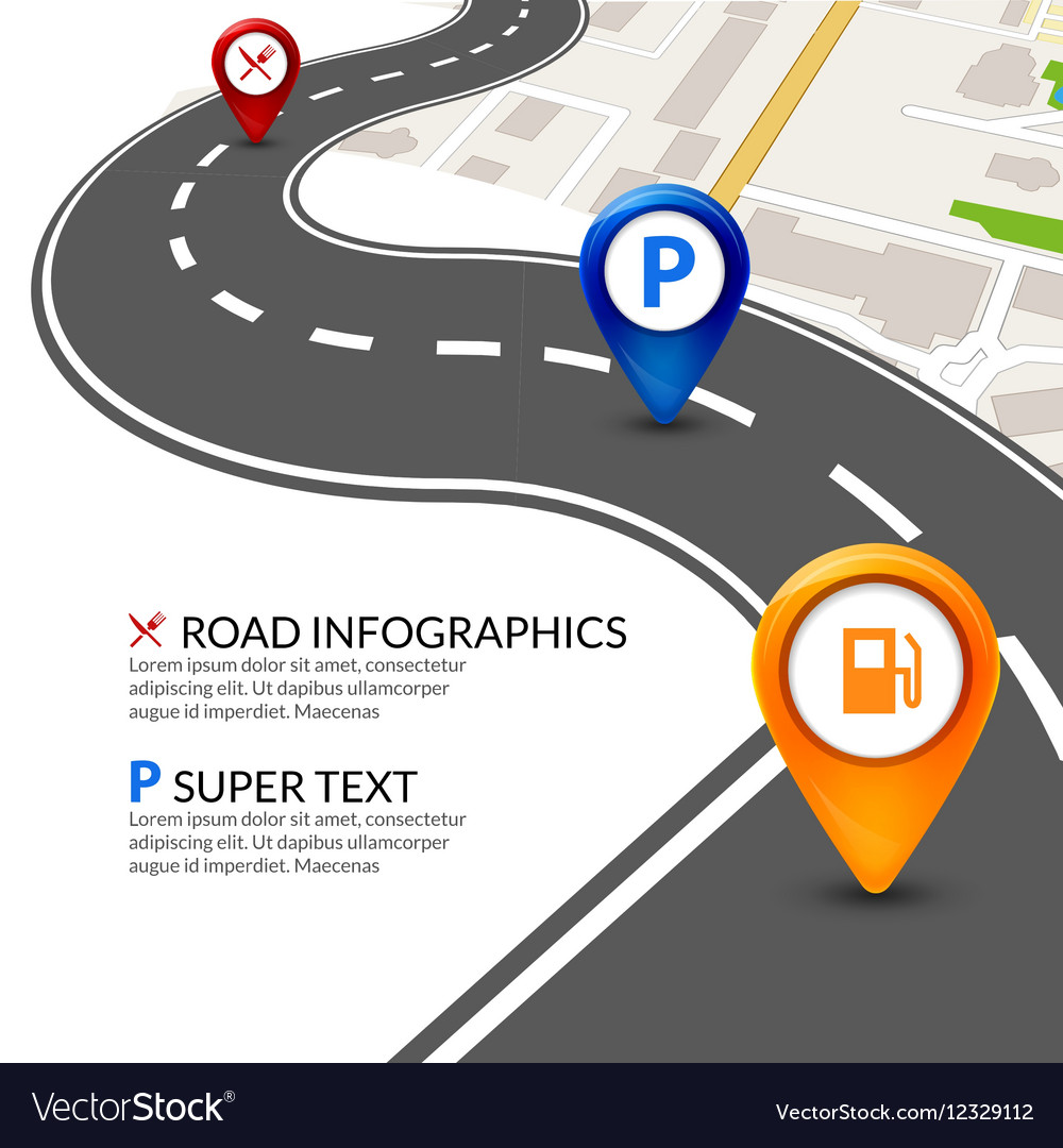 Road map city infographic with colorful pins