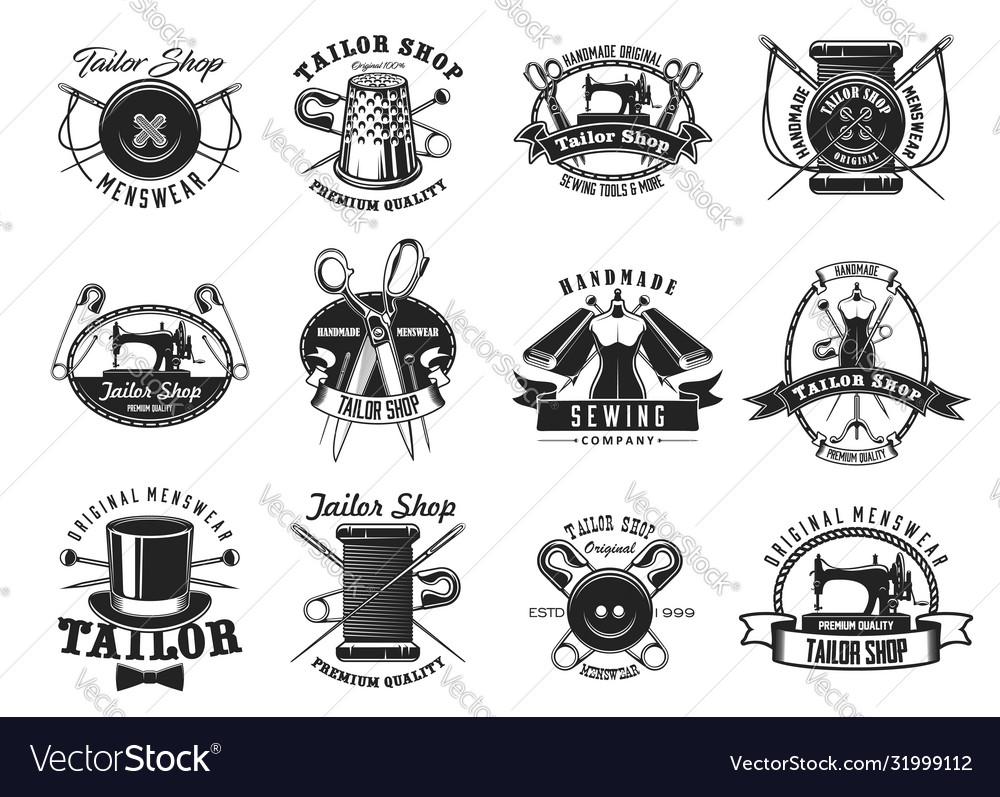 Tailor shop atelier dressmaker sewing icons