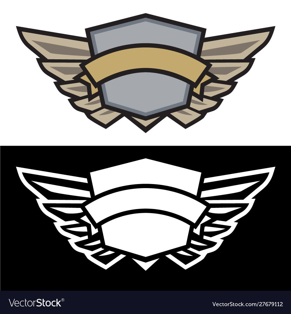 Winged shield logo with banner