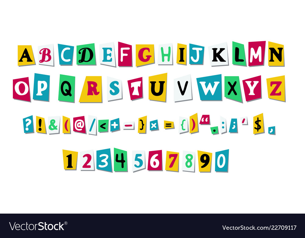 Letters cut paper from newspaper or