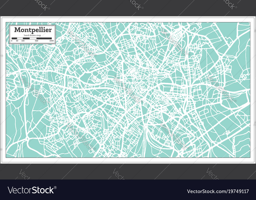Montpellier Map Of France.Montpellier France City Map In Retro Style Vector Image