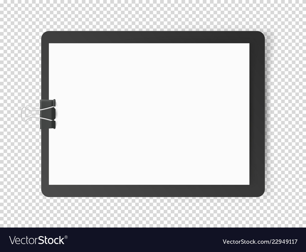 White blank page on tablet object isolated on