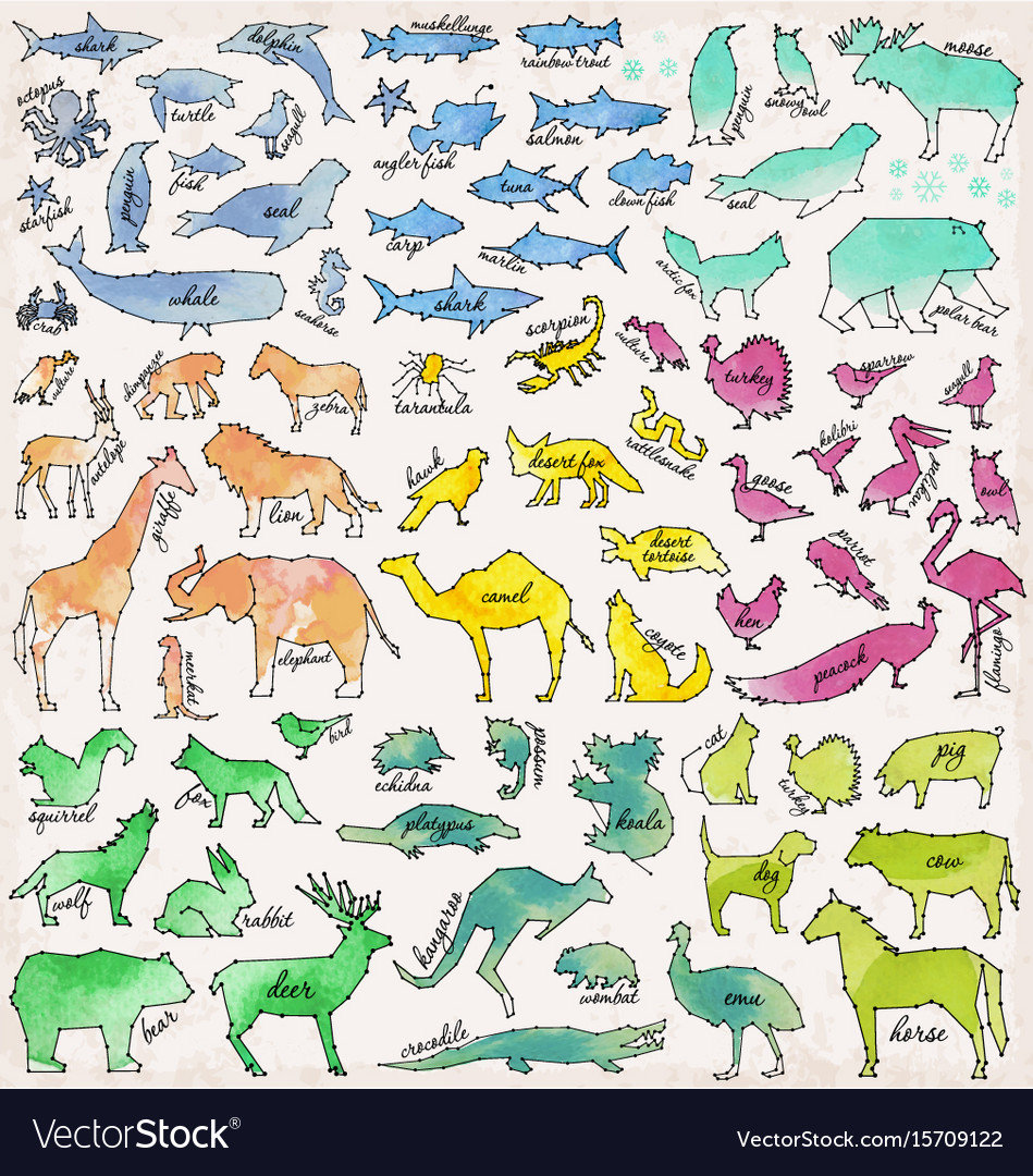 Abstract line and dot animals