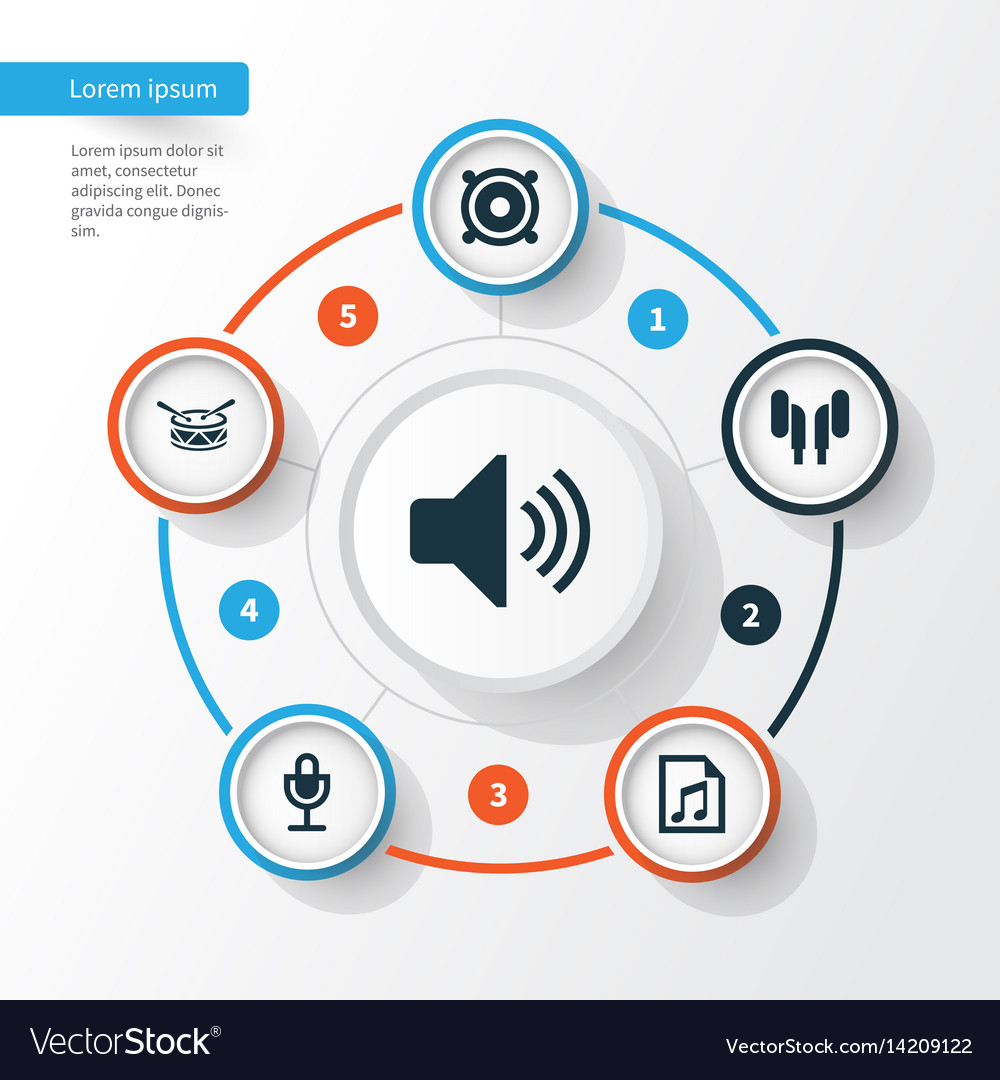 Audio icons set collection of sound mike file