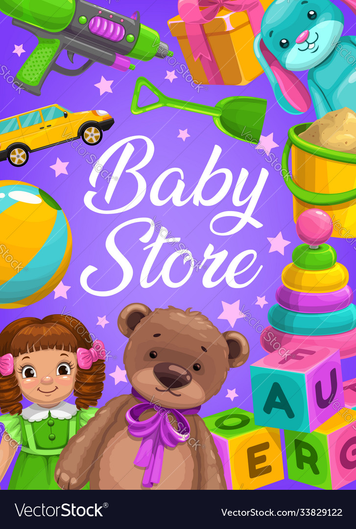 Baby store kids toys shop cartoon poster