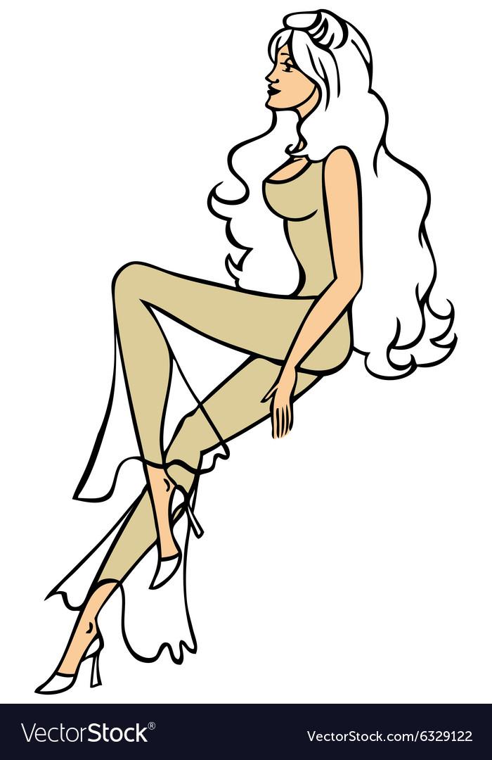 Beautiful long legged girl drawing vector image