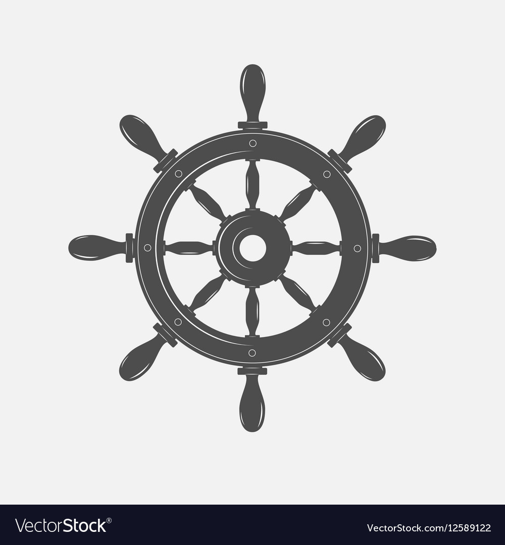 Boat steering wheel icon on white