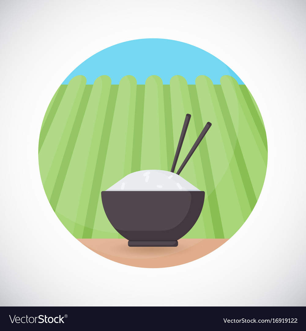 Bowl of rice with chopsticks flat icon vector image