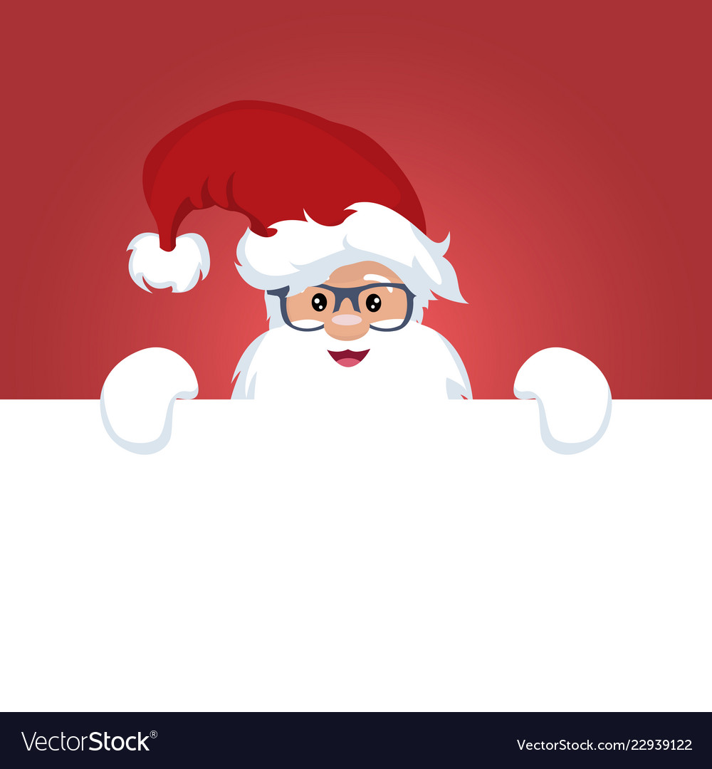 Christmas card of santa claus with a sign