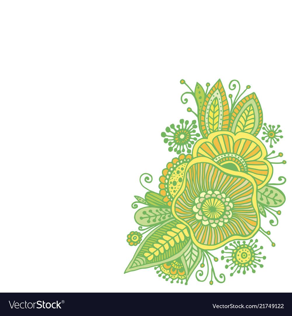 Fantasy flowers and leaf decorative element
