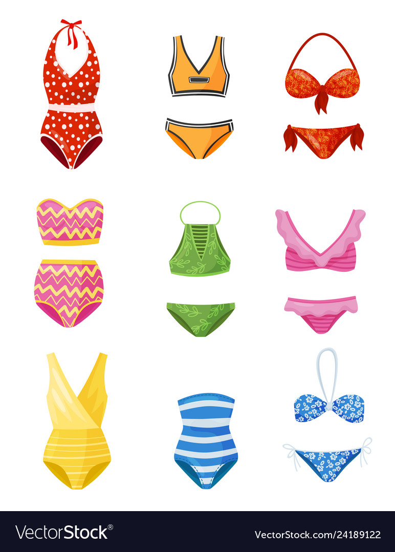 Flat set of women swimsuits female garment