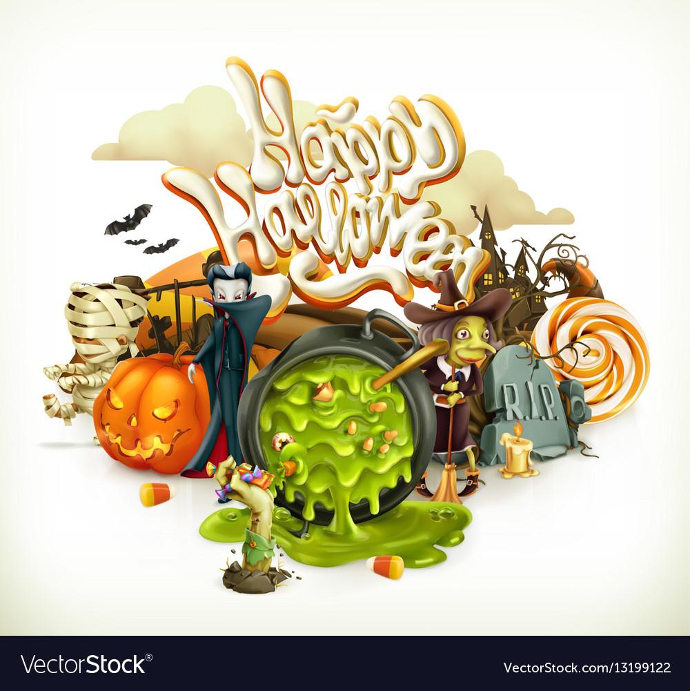 Halloween 3d invitation pumpkin witch vampire