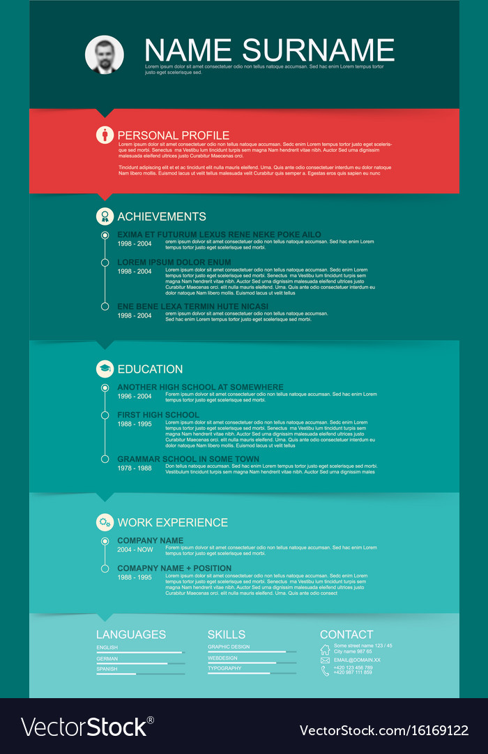 minimalist cv resume template with color stripes vector image