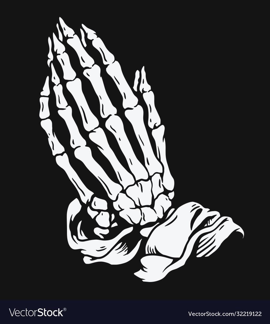 Praying skeleton hands