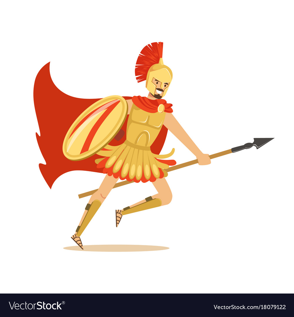 Spartan warrior character in golden armor and red