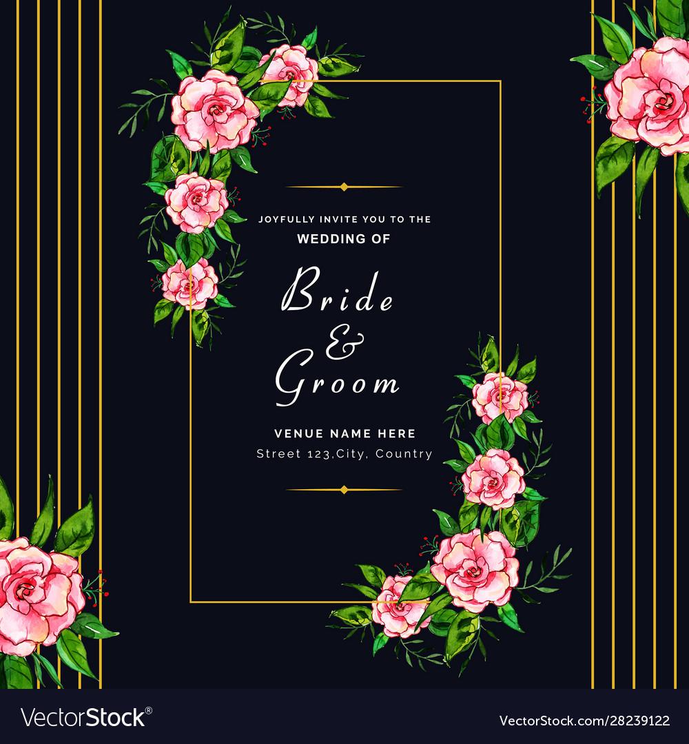 Watercolor Floral Wedding Invitation Background Vector Image