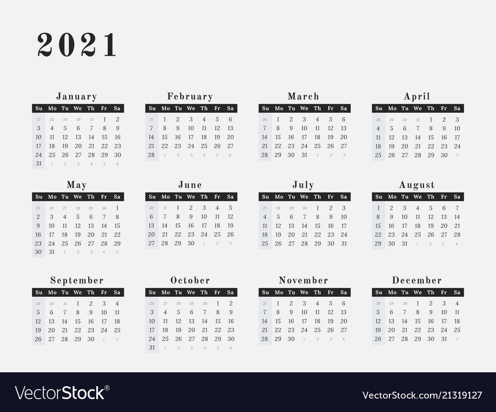 2021 year calendar horizontal design Royalty Free Vector