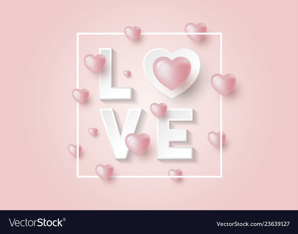 3d love and hearts design on pink background