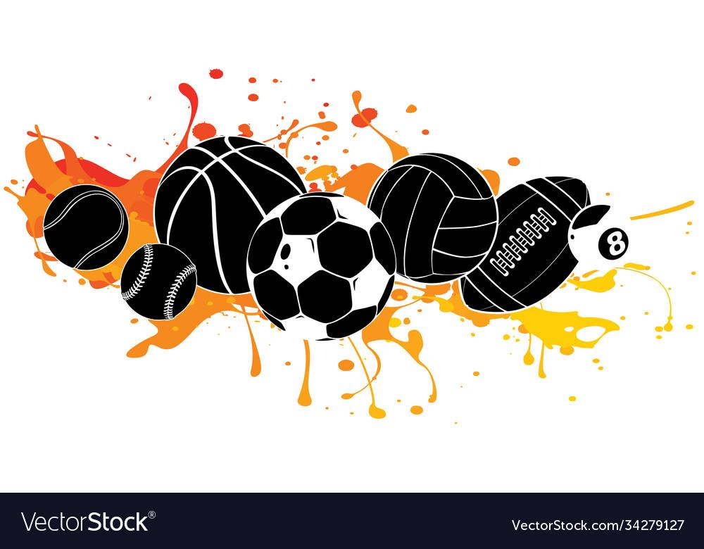 Black silhouette cartoon sports balls set