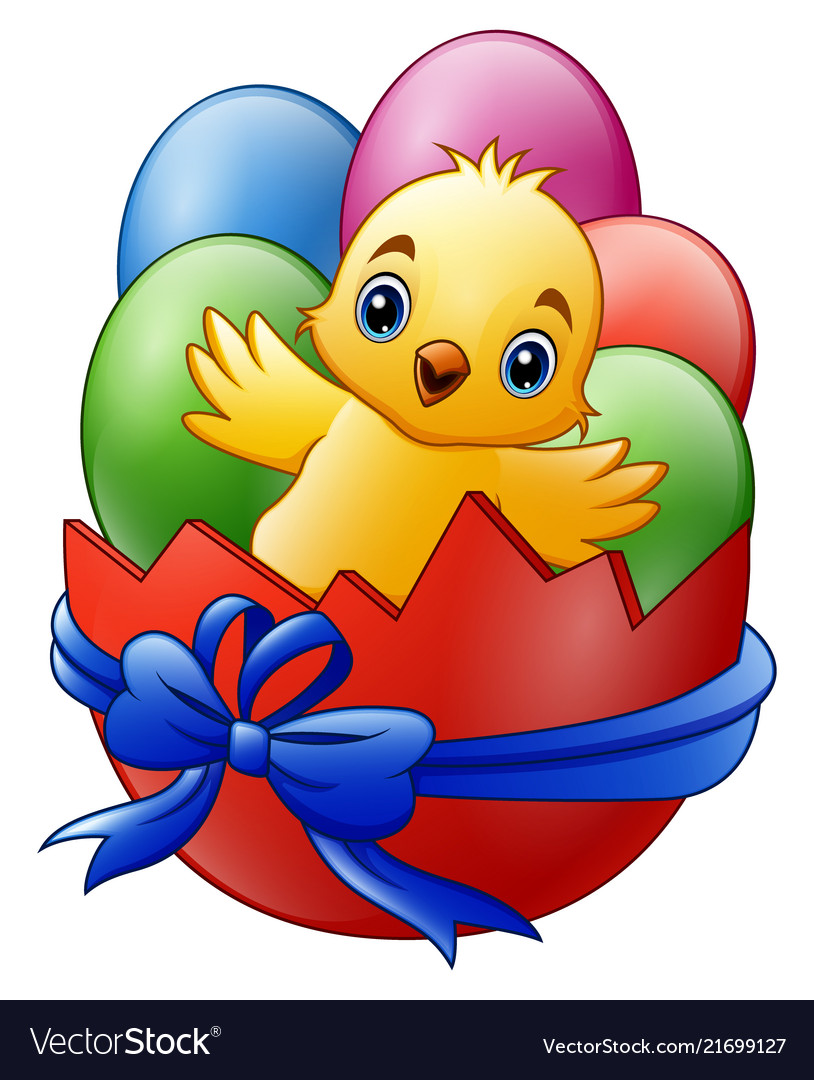 Cartoon little baby chicken with colored eggs in t