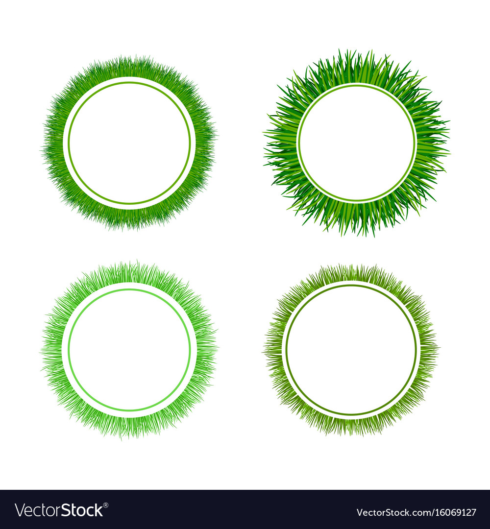Green grass circular frames set