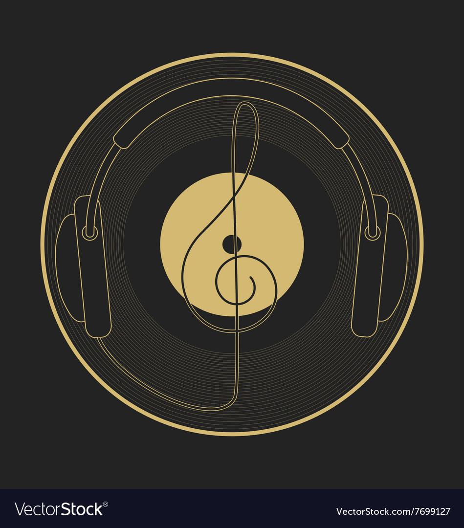 Headphones vintage vinyl clef mono line logo