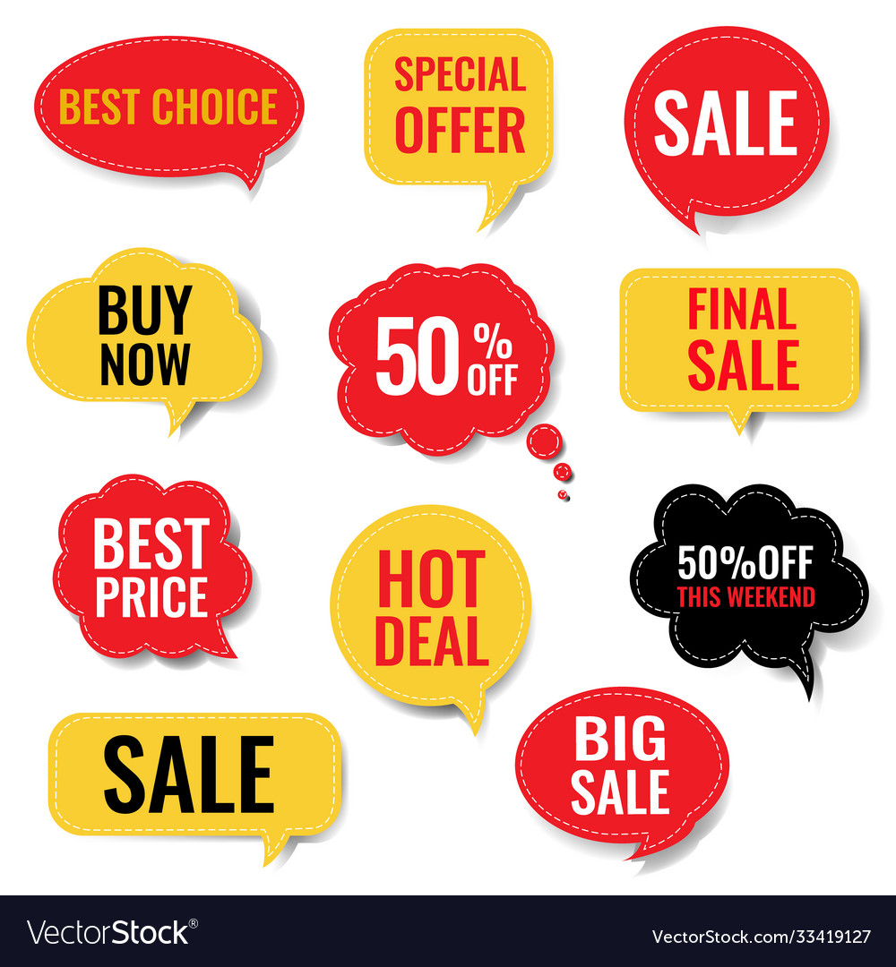 Sale speech bubble set isolated white background