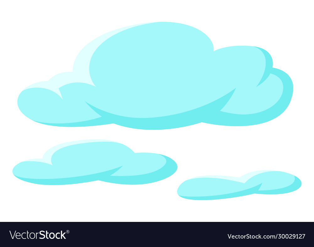 Set blue clouds on white background