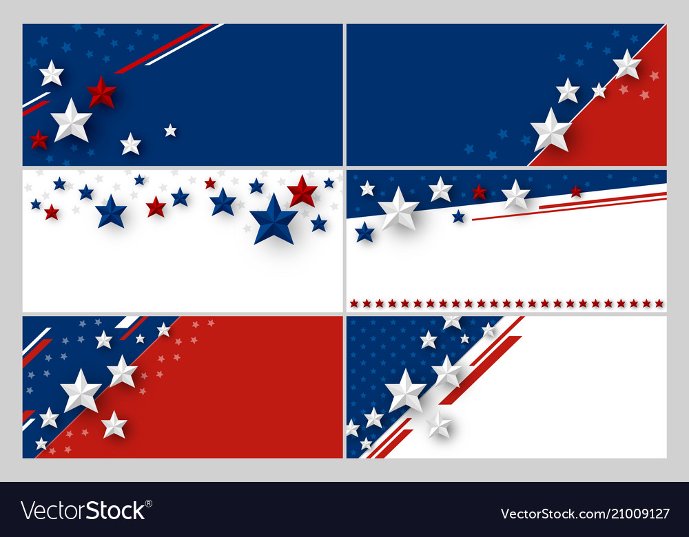 Set of usa banner abstract background design