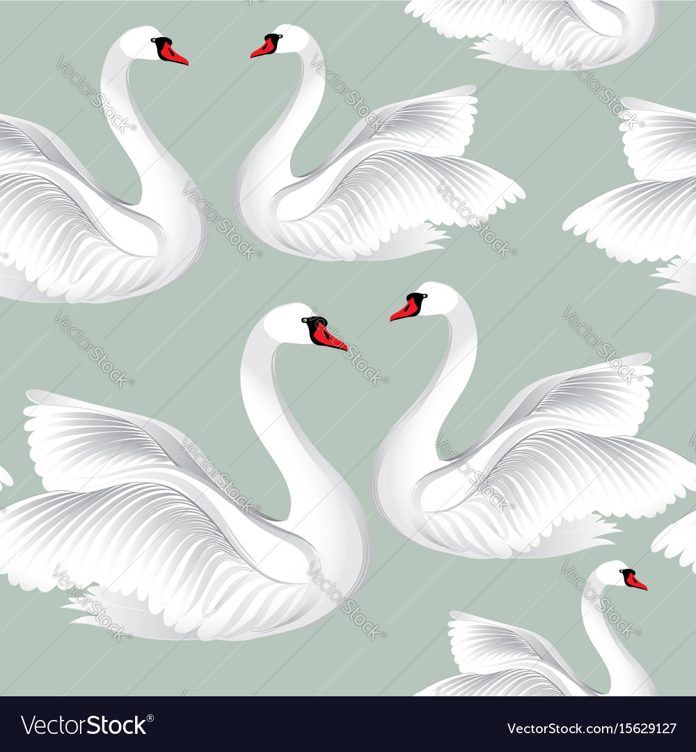 White birds seamless pattern wildlife background