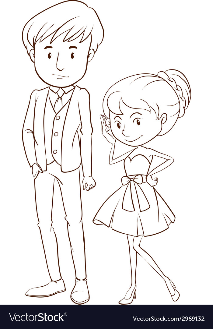A simple sketch of a couple in formal attire vector image