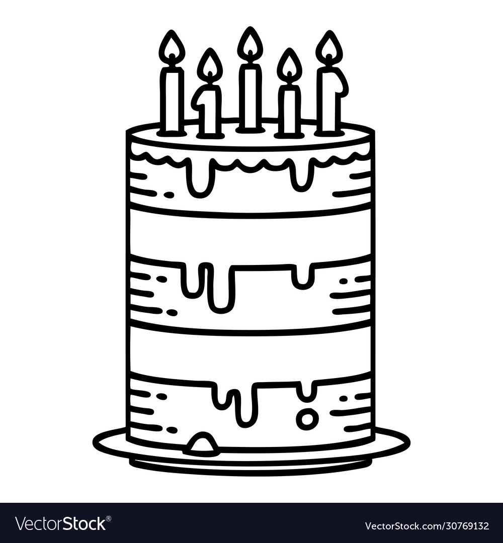 Excellent Black Line Tattoo A Birthday Cake Royalty Free Vector Image Birthday Cards Printable Riciscafe Filternl