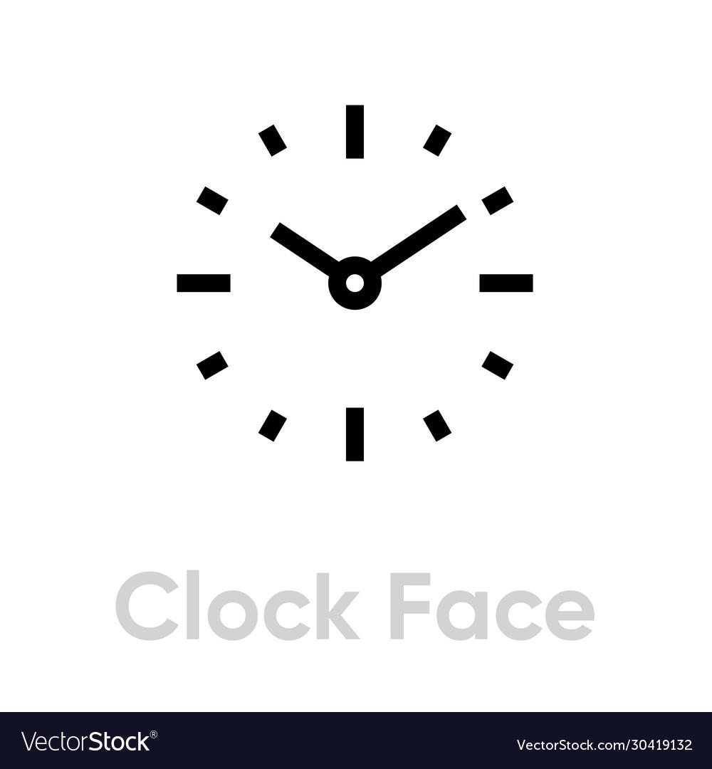 Clock face icon editable outline