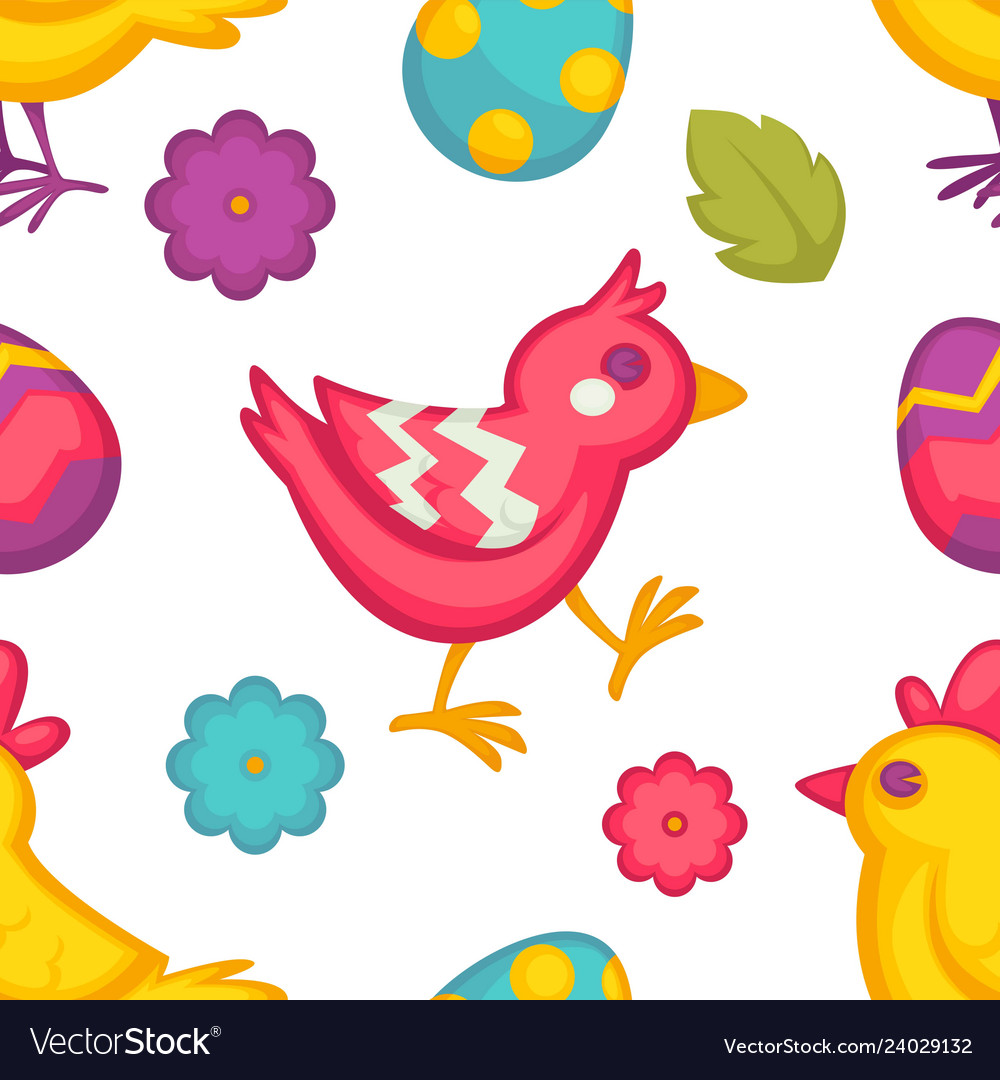 Eggs and birds chicken and flowers easter seamless