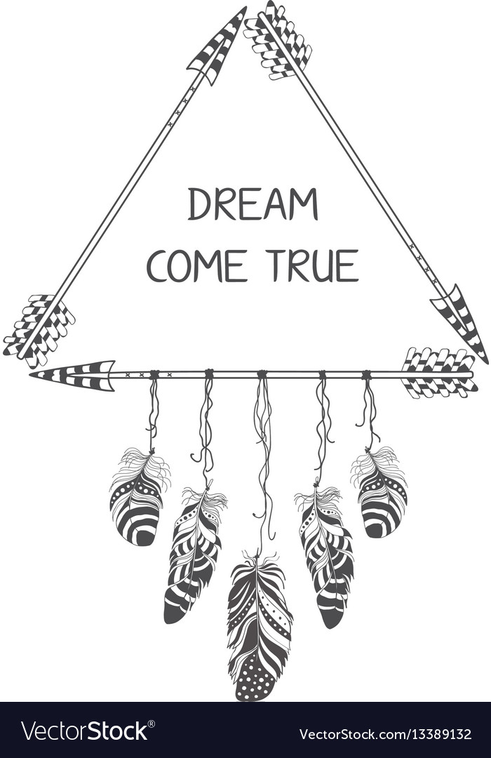 Hand drawn boho style design with arrow and